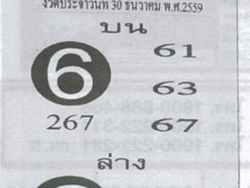 เข้าแน่นอน! เลขฟันธง งวด 30 ธันวาคม 2559