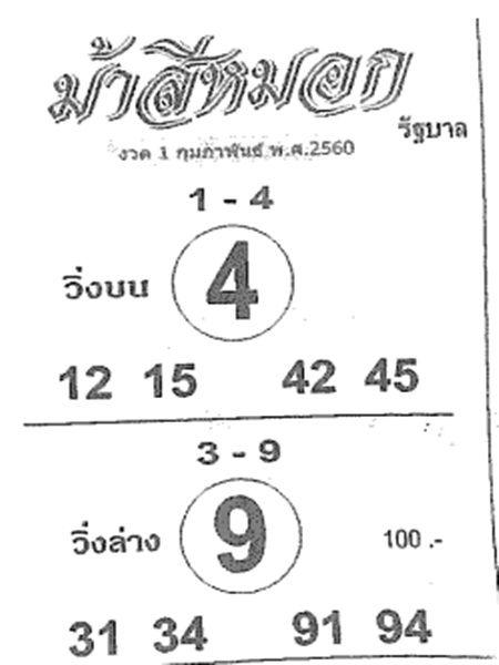 แม่นมาก! ม้าสีหมอก งวด 1 กุมภาพันธ์ 2560