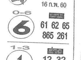 เลขเด็ด คนชี้โชค งวด 16 กุมภาพันธ์ 2560 เรียกทรัพย์