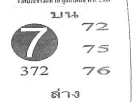 หวยซอง เลขฟันธง งวด 16 กุมภาพันธ์ 2560 ให้โชค