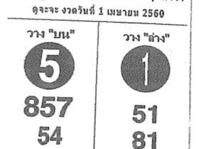 หวยซอง ถล่มเจ้ามือ งวด 1 เมษายน 2560