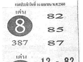 หวยซอง ครูผู้เฒ่านำโชค งวด 16 เมษายน 2560