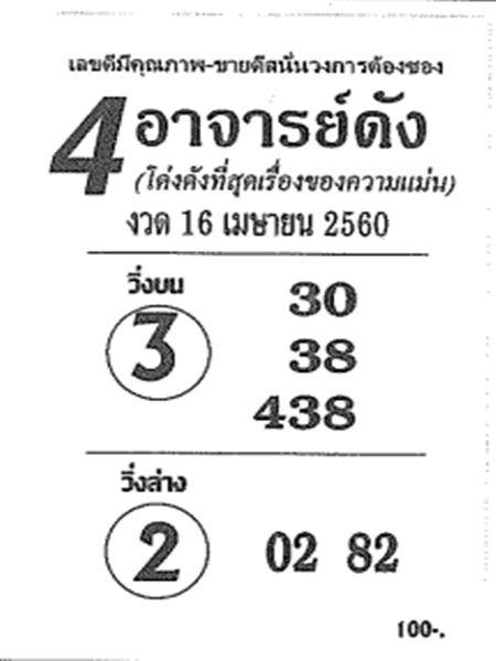 หวยซอง 4อาจารย์ดัง งวด 16 เมษายน 2560