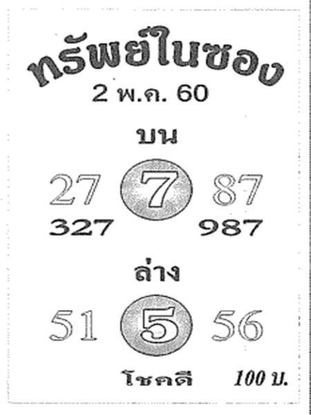 หวยซองทรัพย์ในซอง เลขเด็ดทรัพย์ในซอง งวด 16 พฤษภาคม 2560
