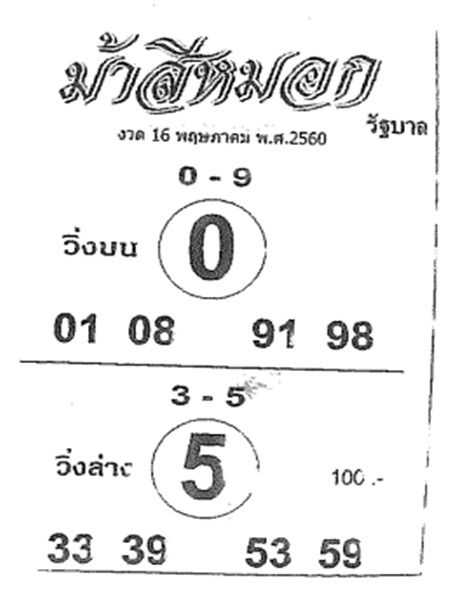 เลขเด็ด ม้าสีหมอก งวด 16 พฤษภาคม 2560