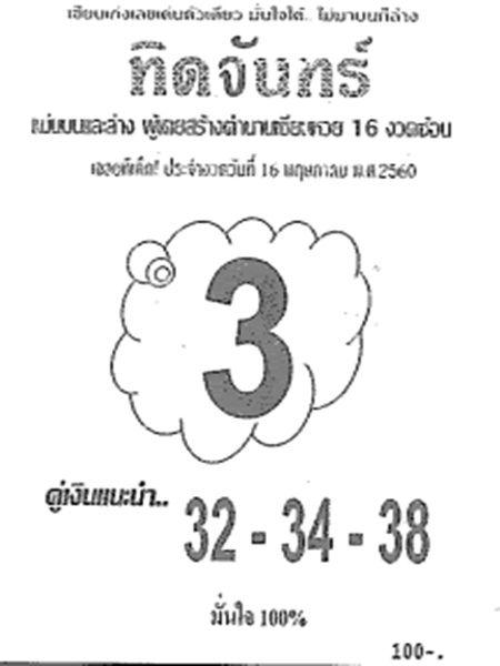 เลขเด็ด ทิดจันทร์ งวด 16 พฤษภาคม 2560