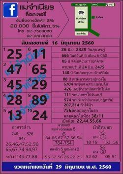 เลขเด็ดแม่จำเนียรงวดนี้ หวยซองแม่จำเนียร งวด 16 มิถุนายน 2560