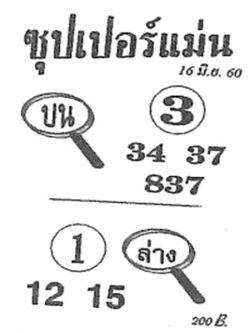 เลขเด็ด ซุปเปอร์แม่น งวด 16 มิถุนายน 2560