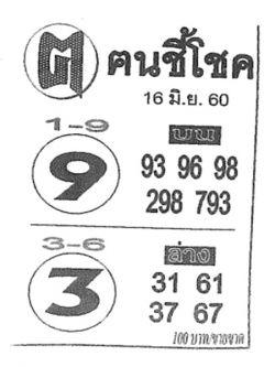 เลขเด็ด ค.คนชี้โชค งวด 16 มิถุนายน 2560