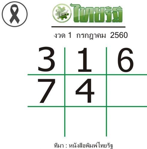 เลขเด็ดไทยรัฐงวดนี้ หวยซองไทยรัฐ งวด 1 กรกฎาคม 2560