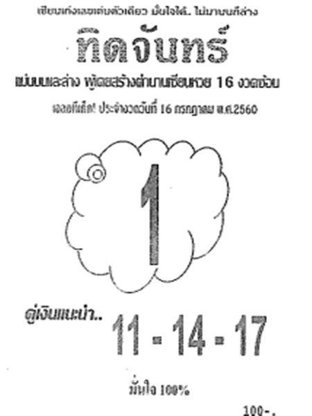 เลขเด็ด ทิดจันทร์ งวด 16 กรกฎาคม 2560