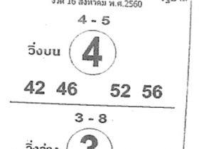 เลขเด็ด ม้าสีหมอก งวด 16 สิงหาคม 2560