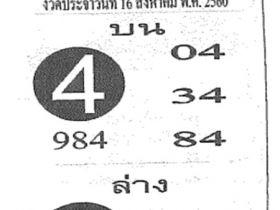 เลขเด็ด เลขฟันธง งวด 16 สิงหาคม 2560