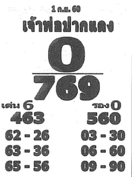 เลขเด็ด เจ้าพ่อปากแดง งวด 1 กันยายน 2560