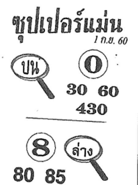 เลขเด็ด ซุปเปอร์แม่น งวด 1 กันยายน 2560