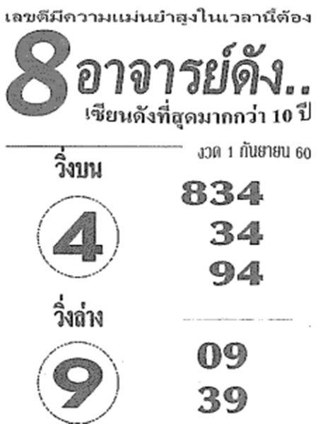สูตร 8 อาจารย์ดังเลขเด็ด หวยซองอาจารย์ดัง งวด 1 กันยายน 2560