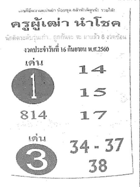 เลขเด็ด ครูผู้เฒ่านำโชค งวด 16 กันยายน 2560