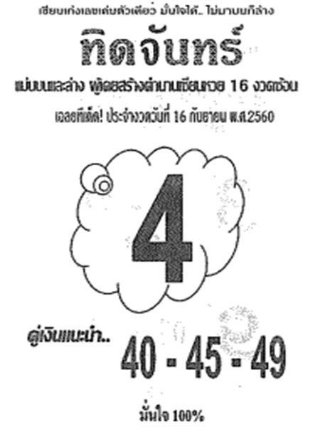 เลขเด็ด ทิดจันทร์ งวด 16 กันยายน 2560