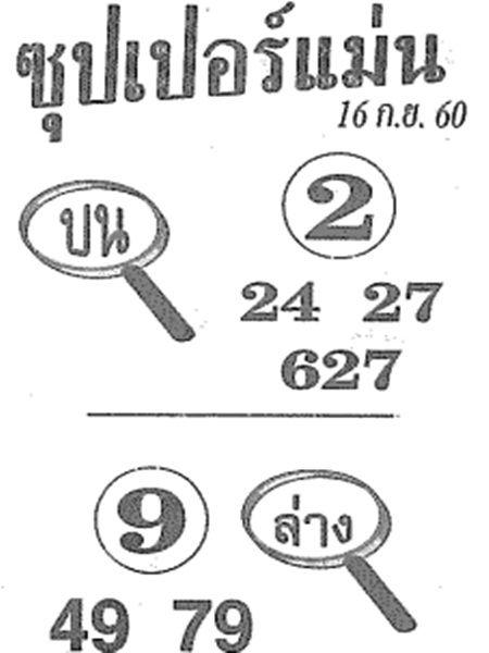 เลขเด็ด ซุปเปอร์แม่น งวด 16 กันยายน 2560