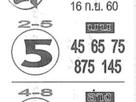 เลขเด็ด ค.คนชี้โชค งวด 16 กันยายน 2560
