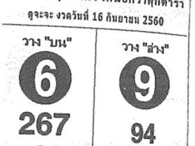 เลขเด็ด ถล่มเจ้ามือ งวด 16 กันยายน 2560