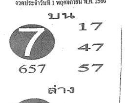 เลขเด็ดเลขฟันธง งวด 1 พฤศจิกายน 2560