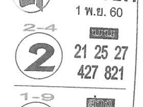 เลขเด็ด ค.คนชี้โชค งวด 1 พฤศจิกายน 2560