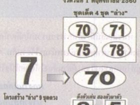 เลขเด็ด ท้าพิสูจน์ล่าง งวด 1 พฤศจิกายน 2560