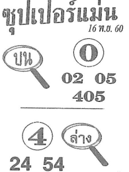 เลขเด็ด ซุปเปอร์แม่น งวด 16 พฤศจิกายน 2560