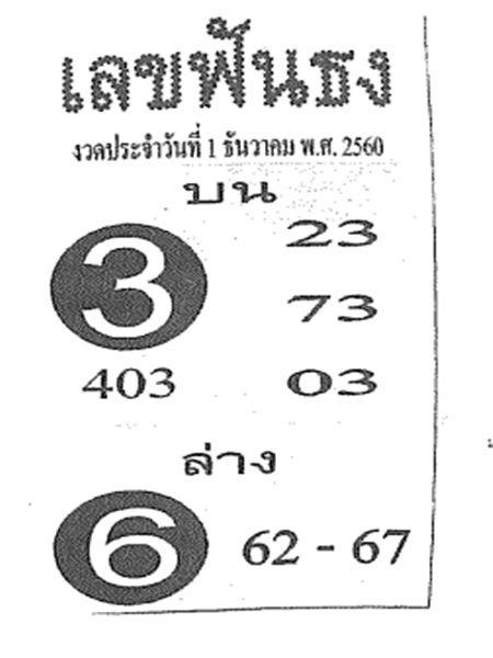 เลขเด็ดเลขฟันธง งวด 1 ธันวาคม 2560