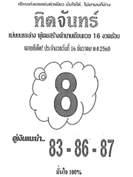 เลขเด็ด ทิดจันทร์ งวด 16 ธันวาคม 2560