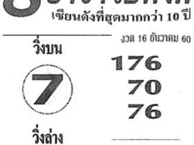 เลขเด็ด 8 อาจารย์ดัง งวด 16 ธันวาคม 2560