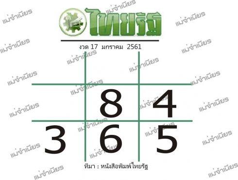 เลขจากหนังสือพิมพ์ดัง 17-01-61 เลขเด็ดไทยรัฐ งวด 17 มกราคม 2560
