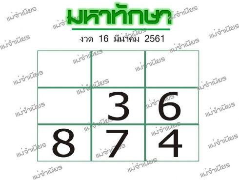 เลขเด็ดมหาทักษา 16 มีค 61 หวยมหาทักษา งวด 16 มีนาคม 2561