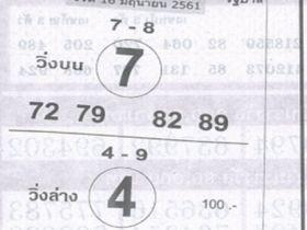 เลขเด็ดม้าสีหมอก งวด 16 มิถุนายน 2561 หวยม้าสีหมอก 16 มิ.ย. 61