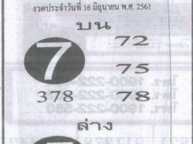 เลขเด็ดฟันธง งวด 16 มิถุนายน 2561 หวยฟันธง 16 มิ.ย. 61