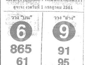 หวยเด็ดถล่มเจ้ามืองวดนี้ เลขเด็ดถล่มเจ้ามืองวด 1 กรกฎาคม 2561