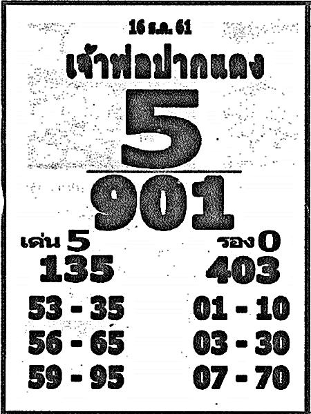 เลขเด็ดหลวงพ่อปากแดง งวด 16 ธันวาคม 2561