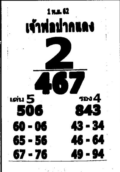 เลขเด็ดหลวงพ่อปากแดง งวด 1 พฤศจิกายน 2562