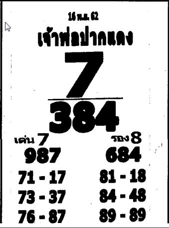 เลขเด็ดหลวงพ่อปากแดง งวด 16 พฤศจิกายน 2562