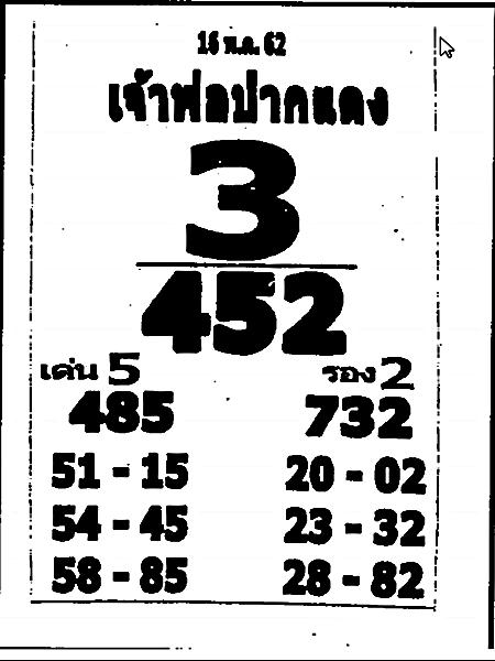 เลขเด็ดหลวงพ่อปากแดง งวด 16 พฤษภาคม 2562