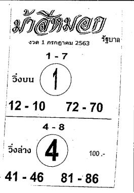 เลขเด็ดม้าสีหมอก หวยเด็ดม้าสีหมอก งวด 1 กรกฎาคม 2563