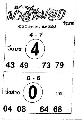 เลขเด็ดม้าสีหมอก หวยเด็ดม้าสีหมอก งวด 1 สิงหาคม 2563