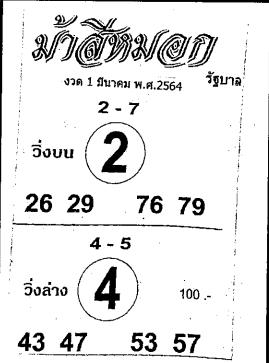 เลขเด็ดม้าสีหมอก หวยเด็ดม้าสีหมอก งวด 1 มีนาคม 2564
