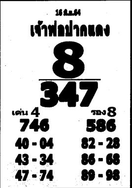 เลขเด็ดหลวงพ่อปากแดง งวด 16 มิถุนายน 2564