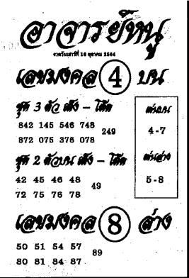 หวยเด็ดอาจารย์หนู เลขเด็ดอาจารย์หนู งวด 16 ตุลาคม 2564